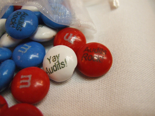 red, white, and blue candy that says yay audits and audits rock