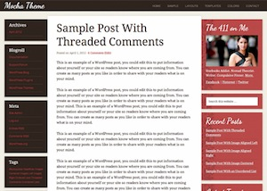 image of the mocha theme for WordPress