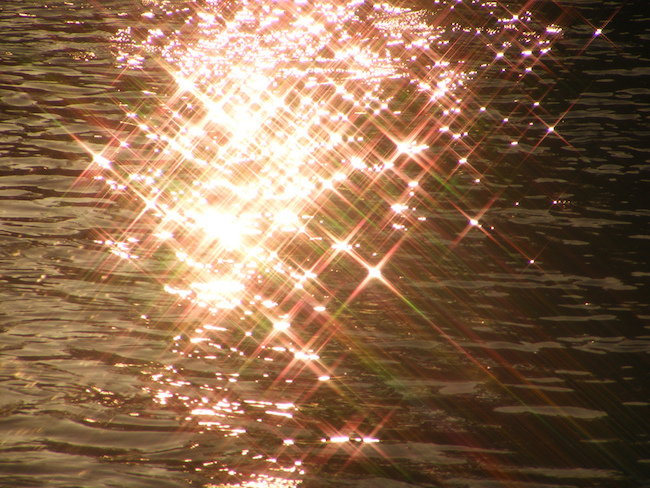 close-up image of a sparkling sunset