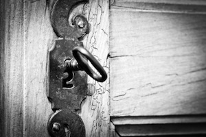 image of old locked door