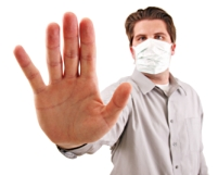 image of a man in a flu mask
