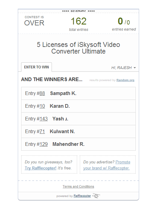 Pemenang Giveaway - iSkysoft Video Converter Ultimate