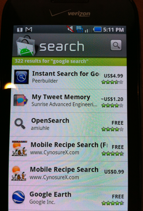 android and search industry