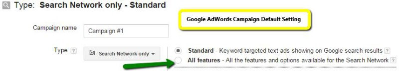 Google AdWords default ke pengaturan standar.